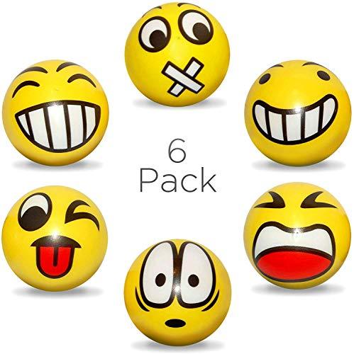 envami Anti-Stressball Emoji mit lustigen Gesichtern - 6 STK Stressbälle Knautsch Knet Smiley Grimasse Stressabbau Anti-Stress-Bälle (Gelb)