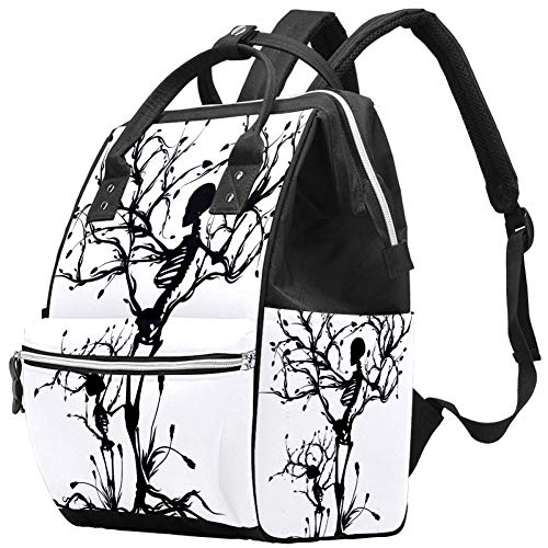 Backpacks Diaper Bag Laptop Rucksack Lightweight Hiking Camping Travel Daypack for Women Black White Tree Skull Art