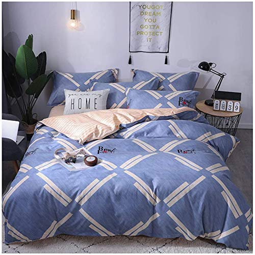 Single/King Bed Duvet/Quilt Cover Bedding Set with 2 Pillow Cases And Plat Sheet, Blue Non Iron Cotton Percale Quilt Cover with Zipper Closure Bedding Bedroom Set,blueletters,single
