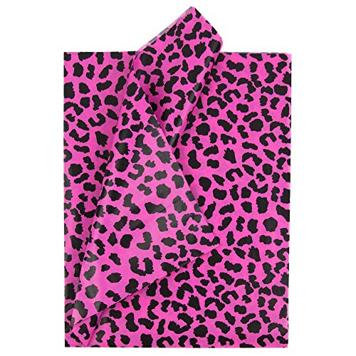 "Tissue Paper for Gift Bags - 100 Sheets 19.6"" x 26"" - Pink Cheetah Print - Cute Tissue Paper for Shipping - Gift Tissue Paper Bulk - Gift Paper Tissue for Gift Wrapping"