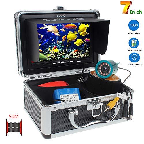 SEXTT Buscador de Peces Profesional, cámara giratoria de 360 Grados grabadora DVR de 7 Pulgadas 50 Metros de Pesca submarina IP68 buscador de Peces a Prueba de Agua