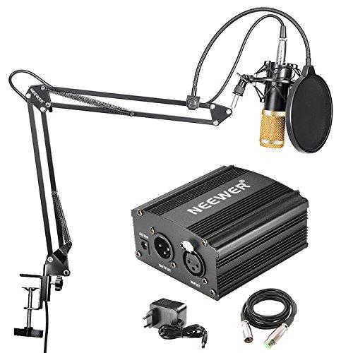Neewer NW-800 Micrófono Condensador Pro NW-35 Suspensión Auge Tijera Brazo Soporte Incorporado Cable XLR Abrazadera Montaje Filtro Pop 48V Phantom Fuente Alimentación Adaptador