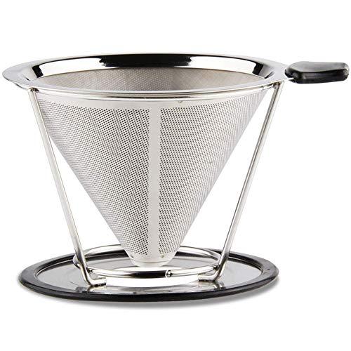 Sivaphe wiederverwendbarer Edelstahl Kaffeefilter Kegel Kaffeefilterhalter Metall Coffee Dripper Filter größe 4 (Silber)-MEHRWEG
