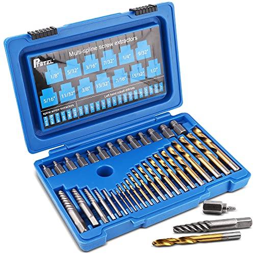 PTSTEL 35Pcs Screw Extractor Drill Bit Set bolt extractors Multi-Spline Screw Extractors Spiral Screws Extractors Left Hand Cobalt Drill Bits Tool Kit (BLUE)