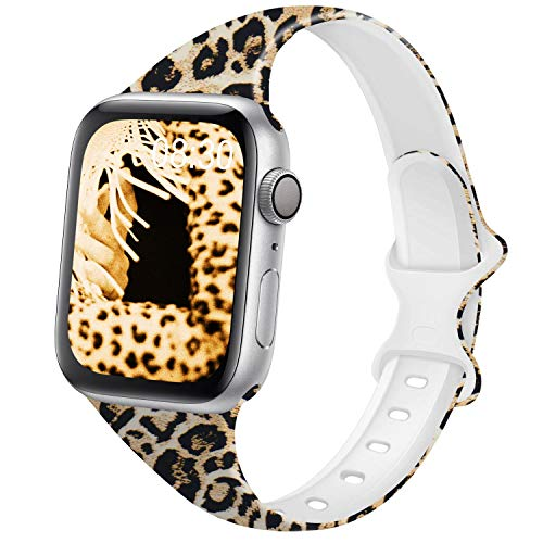 DYKEISS Pattern Printed Slim Silicone Band Compatible for Apple Watch Band 38mm 42mm 40mm 44mm, Fadeless...