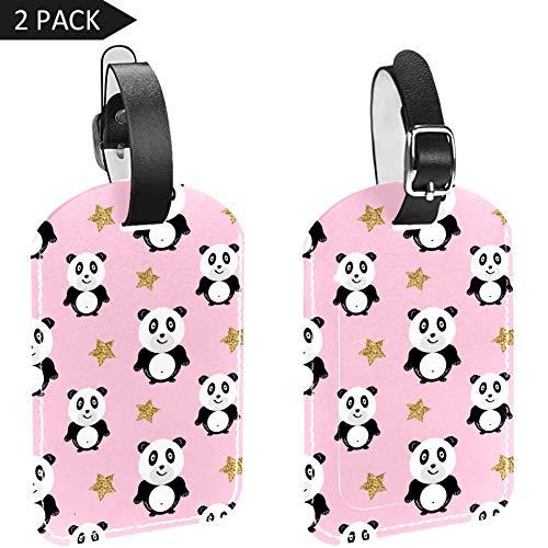 LORVIES Panda met Glitter Stars Bagage Tags Reizen Labels Tag Naam Kaarthouder voor Bagage Koffer Tas Rugzakken, 2 PCS