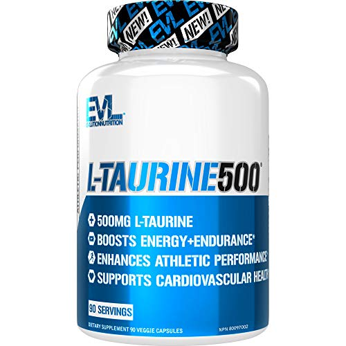 Evlution Nutrition L-Taurine500, 500mg of L-Taurine in Each Serving, 90 Capsules