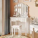 Tiptiper Weiß Schminktisch mit 3 Farben Dimmbarer Glühbirnen, Frisiertisch mit Dreifach Gefaltetem Spiegel und 7 Schubladen, Schminktisch mit Hocker für Schlafzimmer