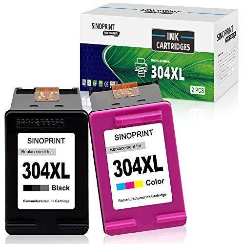 SINOPRINT Remanufactured 304XL Ink cartridge for HP 304 304XL for HP Envy 5010 5020 5030 5032 Deskjet 2620 2622 2630 2632 2633 2634 3720 3730 3733 3735 3750 3760 3762 3764 (1 Schwarz, 1 Farbe)