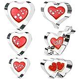 Olywee, set di 6 formine per biscotti a forma di cuore, in acciaio inox, per compleanno, matrimonio, fondente