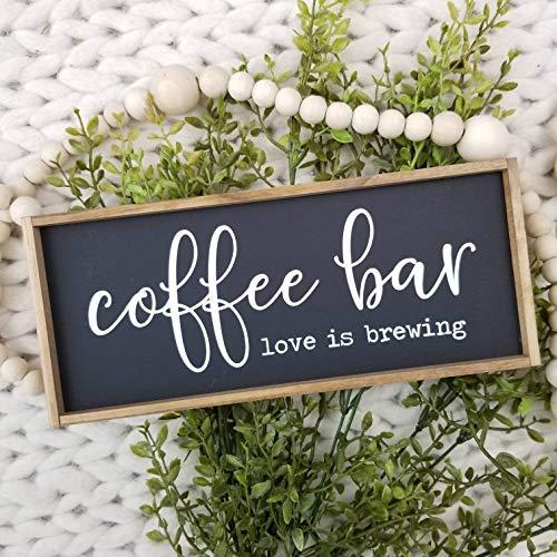 Ced454sy Coffee Bar Mini Schild Love is Brewing Schild Stufenförmiges Tablett Dekor Mini Schild Coffee Bar Schild Coffee