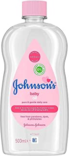 JOHNSON'S Baby Oil 500 ml, Leaves Skin Soft and Smooth, Ideal for Delicate Skin, Moisturises and Protects Delicate Skin from Dryness