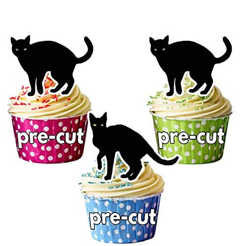 Vorgeschnittene Schwarze Katzen Halloween - Essbare Cupcake Topper / Kuchendekorationen (12 Stück)