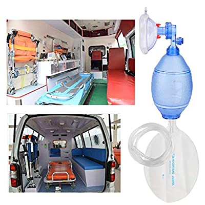 Haofy First Aid Kit, Manual Oxygen Device with Transparent PVC Mask, Adult Simple PVC Mask with Oxygen Tube, Reservoir Bag