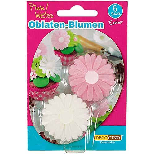 Dekoback 32420 Essbare Oblaten-Blumen Pink/Weiß