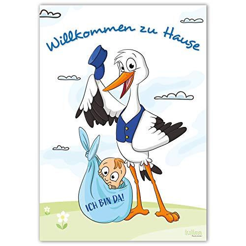 Willkommen zu Hause Baby und Mama - Großes DIN A2 Poster zur Geburt - Begrüßungs-Plakat mit Storch nach der Geburt eines Jungen/Sohn