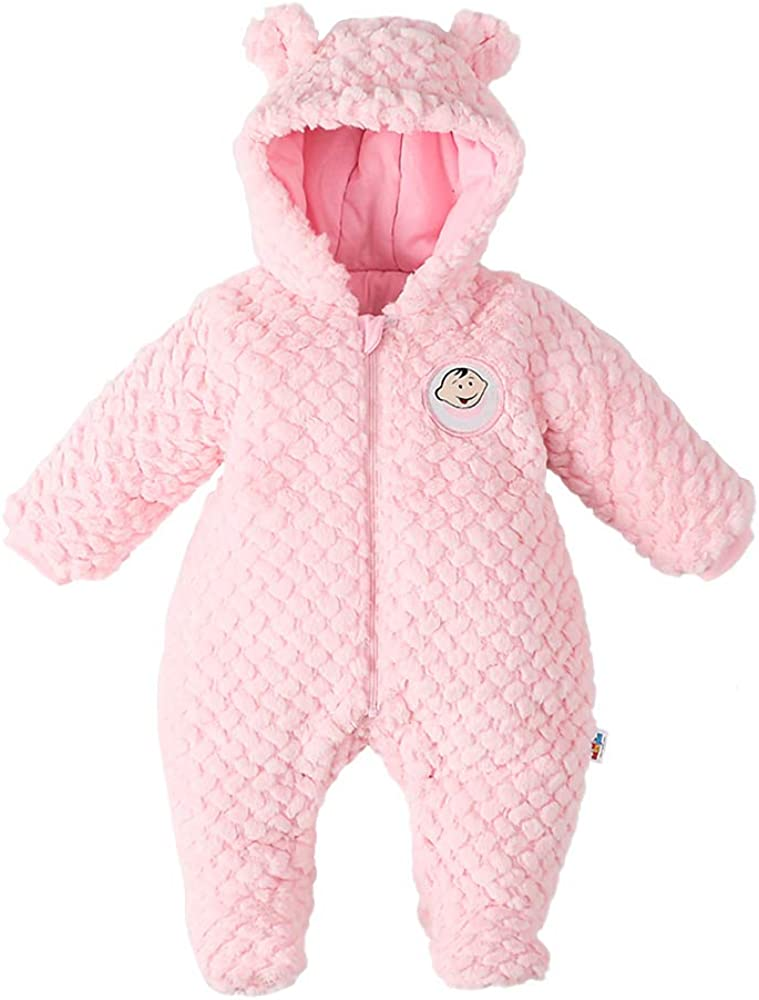 DDY Baby Fleece SnowsuitRomper Hooded FootedOnesies Flannel Zipper JumpsuitWinter Coat Outfit Suit for Baby Boy Girl