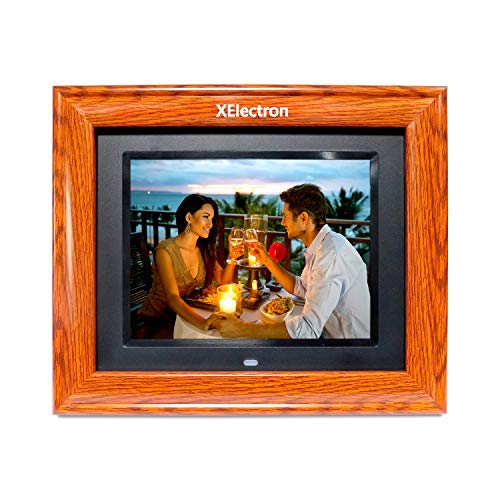 XElectron DPF805W 8 inch LED Wooden Digital Photo Frame/Video Frame with 1280 * 720, 720P Support Resolution, Plays Images, Video & Music, USB/SD Card Slot, with Remote (Wooden)