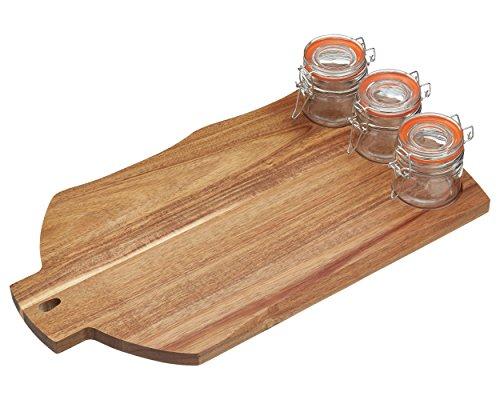 Kitchen Craft ARTBOARD3JAR Master Class Artesa Planches à Découper avec 3 Compartiment Bois/Verre Brun/Transparent 28 x 28 x 18 cm