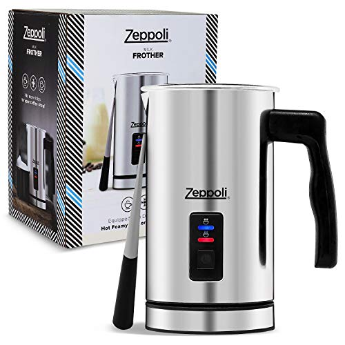 Zeppoli Milk Frother and Warmer - Automatic Milk Heater, Electric Milk Steamer and Milk Foamer | Great as a Latte Frother and Cappuccino Maker for Coffee and Hot Chocolate - Comes With a Silicone Scraper
