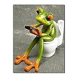 zuomo Lustige Grüne Frosch Wc Leinwand Malerei Wandkunst