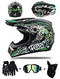 LZSH Casco de motocicleta todoterreno profesional para niños, Gafas máscara Guantes BMX MX ATV DH Carrera en Bicicleta de Cara Completa Casco Integral (JC-03,S: 52-56 cm)