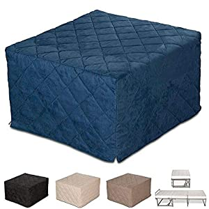 EvergreenWeb – Puf Cuadrado colchón Plegable Cama Individual para Invitados, 9 cm de Altura en Poliuretano Expandido de Alta Densidad – Cama Individual Ahorra Espacio - Azul – Desenfundable