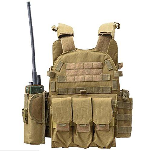 Viktion - Gilet Tactique Armée Airsoft equipement Ajustable Fournitures Police et Les Militaires, engins Tactiques pour Camping randonnée armée Jungle Adventure Alpinisme (Kaki)