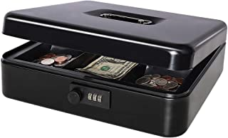 "Safe Metal Cash Box with Combination Lock, Decaller Large Lock Storage Money Box with Money Tray, Black, 11 4/5"" x 9 2/5"" x 3 1/2"", QH3001L"
