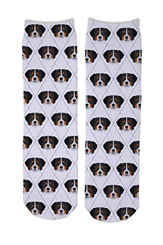 Adorable Dog Breed Specific Novelty Argyle Socks (Bernese Mountain Dog)