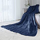 ALANSMA Reversible Weighted Blanket for All Season, Luxury Velvet, Warm and Cool, Adult Kids 5Lb Weighted Blanket, Enjoy Sleeping Anywhere(Blue,5Lb)
