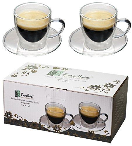 2x 80ml doppelwandige Espresso-Tassen mit Henkel und Untersetzer, modern, zeitloses Design in toller Verpackung, by Feelino