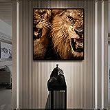 León animal imagen cartel lienzo pintura cartel pared sala art deco sin marco pintura B 70x70cm