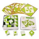 SM SunniMix Creativo de Madera 3D Montessori geometría Tangram puzles patrón Bloques Set 30 Piezas Tarjetas 16 Piezas Bloques