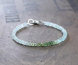 Pulsera de turmalina y aguamarina verde Ombre, pulsera de cristal de piedra preciosa verde aguamarina, joyería de turmalin...