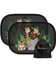 Systemoto Samochodowa osłona przeciwsłoneczna dla niemowląt z certyfikowaną ochroną UV (zestaw 2 szt.) – samoprzylepne osłony przeciwsłoneczne dla dzieci ze słodkimi zwierzętami motywami (Wild Life)