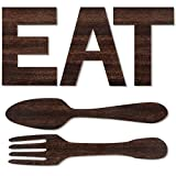 Set of EAT Sign, Fork and Spoon Wall Decor, Rustic Wood Eat Decoration, Cute Eat Letters for Kitchen and Home, Decorative Hanging Wooden Letters, Country Wall Art, Dining Room (Trendy Color)