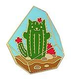 Pinsanity Cute Cat Cactus Terrarium Enamel Lapel Pin