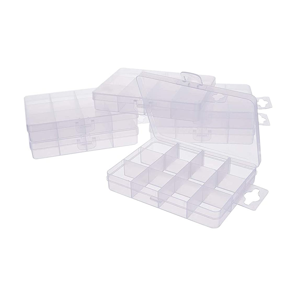 PandaHall Elite 6 Pack 12 Grids Jewelry Dividers Box Organizer Clear Plastic Bead Case Storage Container for Beads, Jewelry, Nail Art, Small Items Craft Findings 13x10x2.2cm, Compartment: 3x3cm