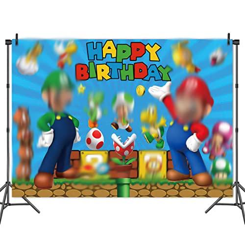 Super Mario Fotografía Telón de Fondo Decoración de cumpleaños la Fiesta de Navidad de Fondo Feliz año Nuevo Nochebuena Interior Foto Estudio Apoyos fiesta de cumpleaños para niños 150 * 100 cm