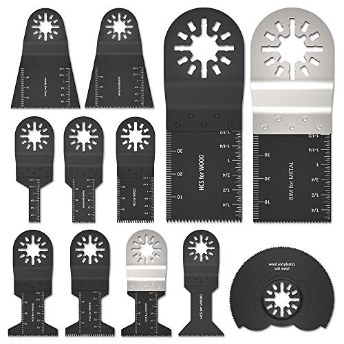 12Stk Oszillierende Sägeblätter Kit Multitool Oszillierwerkzeug-Zubehör Sägeblätter Mix Multi Tool Blades Kit zum Schleifen/Schneiden Universal Multitool für Bosch, Fein Multimaster