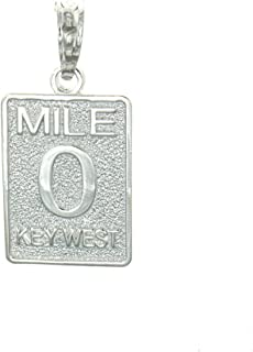 925 Sterling Silver Travel Charm Pendant, Small Mile Marker 0 Key West