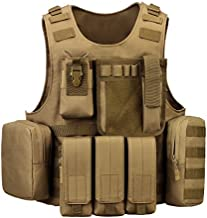 UNISTRENGH Tactical Vest Lightweight Adjustable Airsoft Paintball Vest for CS Filed Combat Military Swat Assault and Shooting Hunting Outdoor Activity (Coyote Brown)
