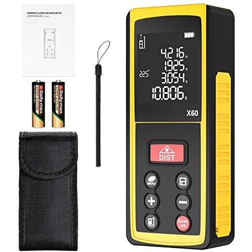 Medidor Laser de Distancia 60m papasbox Medidor Láser con Sensor de Ángulo Electrónico, 99 Almacenes de Datos, Mida Rápidamente Distancia/Área/Volumen LCD Pantalla Reiluminada(Batería Incluida)-IP54