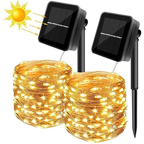 Ubitree Cadena de luces solares para exteriores 2 unidades 10m 100 LED para exterior con 8 modos blanco cálido impermeable decoración de alambre de cobre para jardín terraza árbol balcón fiesta