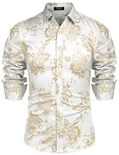 COOFANDY Men's Gold Rose Printed Hipster Slim Fit Long Sleeve Dress Shirts
