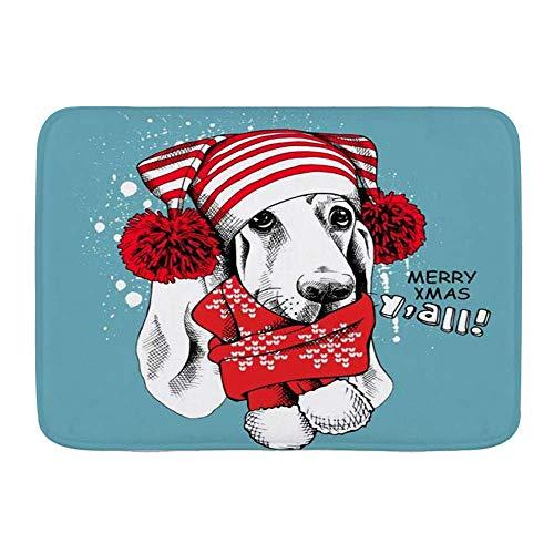 Alfombrillas de puerta, Navidad Basset Hound Perro Año Mascota Animales Navidad Vida salvaje Personaje de perrito Vacaciones, Piso de cocina Alfombra de baño Alfombra absorbente Interior Baño Decoraci