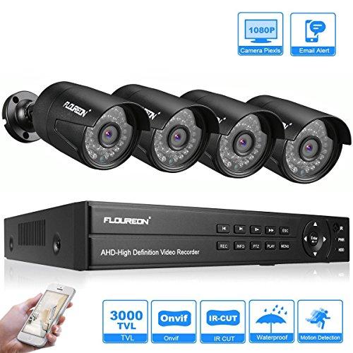 FLOUREON DVR Kit Videosorveglianza Sistemi Videocamera (8CH AHD 1080N ONVIF AHD DVR + 4X 3000TVL 1080P 2.0MP Bullet Camera Esterno)