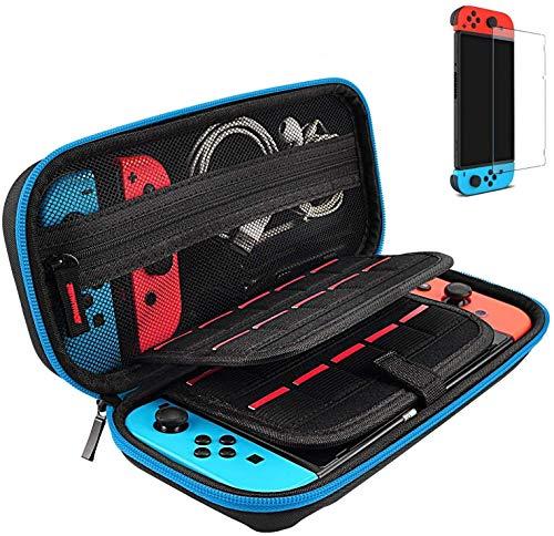 daydayup Tasche kompatibel mit Nintendo Switch, Harte Hülle Case Tragetasche mit Schutzfolie[1 Stück], Schutzhülle mit Aufbewahrung für 20 Spiele, Konsole & Zubehör - Blau