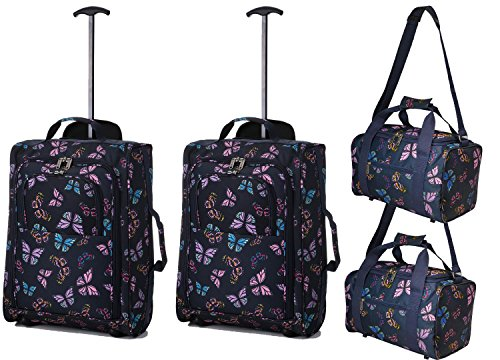 Set di 4 - 2x Ryanair Cabin Approvato 55x40x20 cm e 2x Seconda 35x20x20 bagaglio a mano Set - vai avanti Entrambi gli articoli! (Farfalle nere / farfalle Navy)